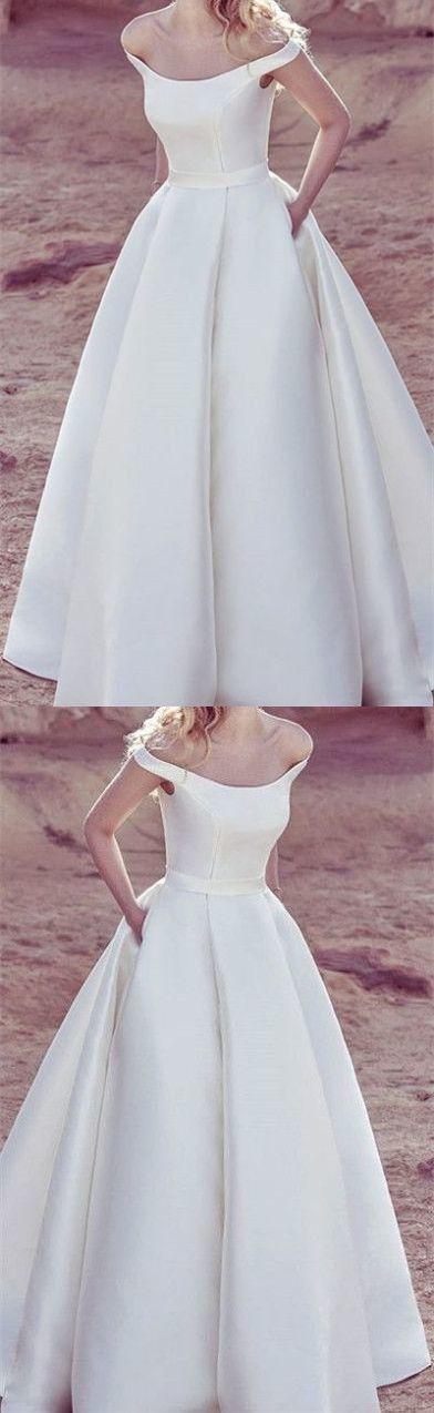 2019 White Off the Shoulder Wedding Dress, Formal Wedding Dresses, Bridal Gowns