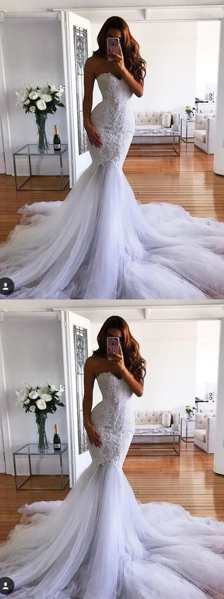 Charming Appliques Mermaid Long Wedding Dresses, Sexy Tulle Bridal Gowns