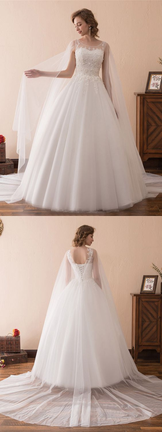 Charming White Tulle Appliques Ball Gown Wedding Dress, Elegant Formal Bridal