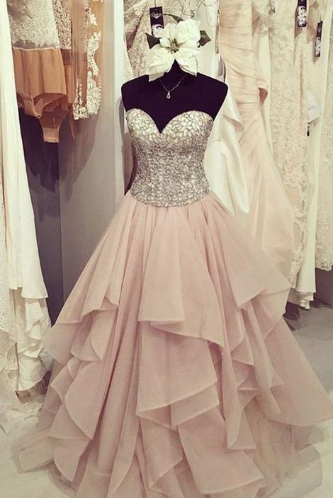 A-line Beading Prom Dresses,Long Formal Dress