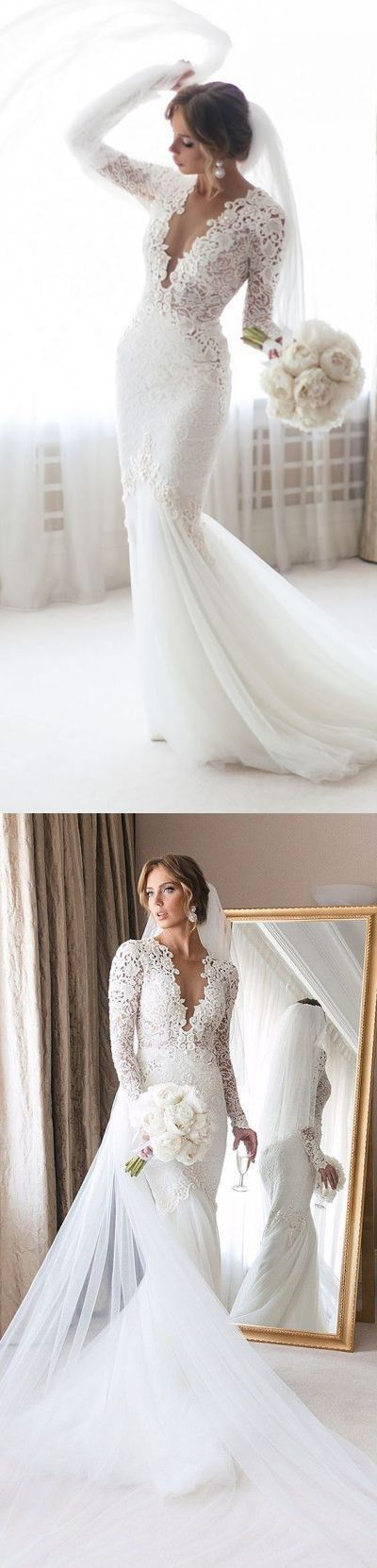 Long Sleeve White Tulle Wedding Dress with Appliques,  Sexy Deep V neck Mermaid