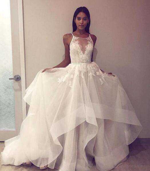 Lacey Sheer Wedding Dress Spaghetti Strap