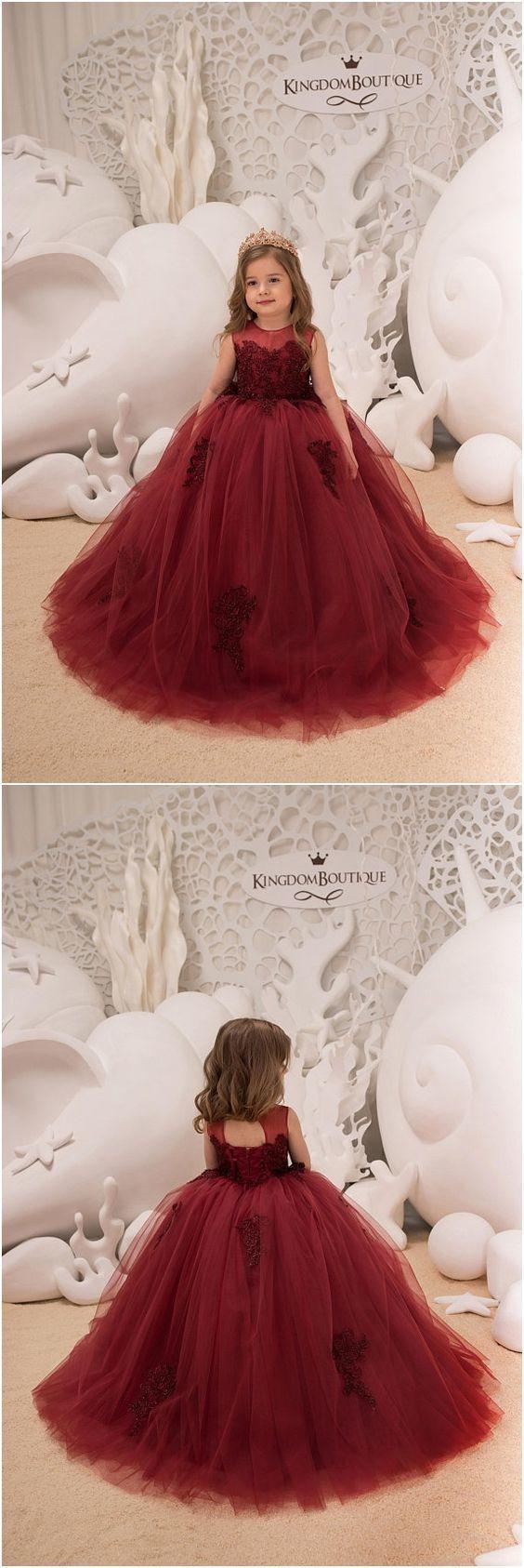 Flower Girl Dress - Birthday Wedding party Bridesmaid Holiday Maroon Lace