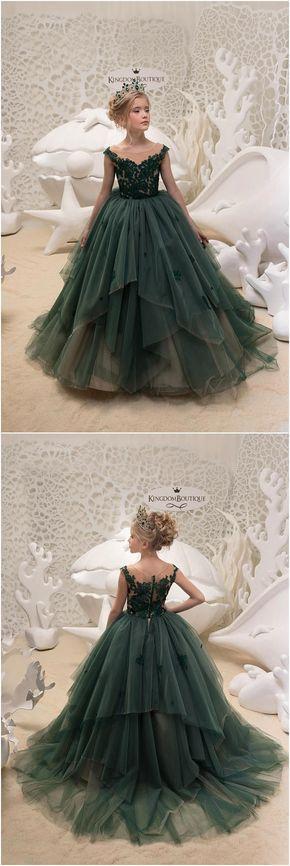 Emerald Green Flower Girl Dress - Birthday Wedding party Bridesmaid Holiday
