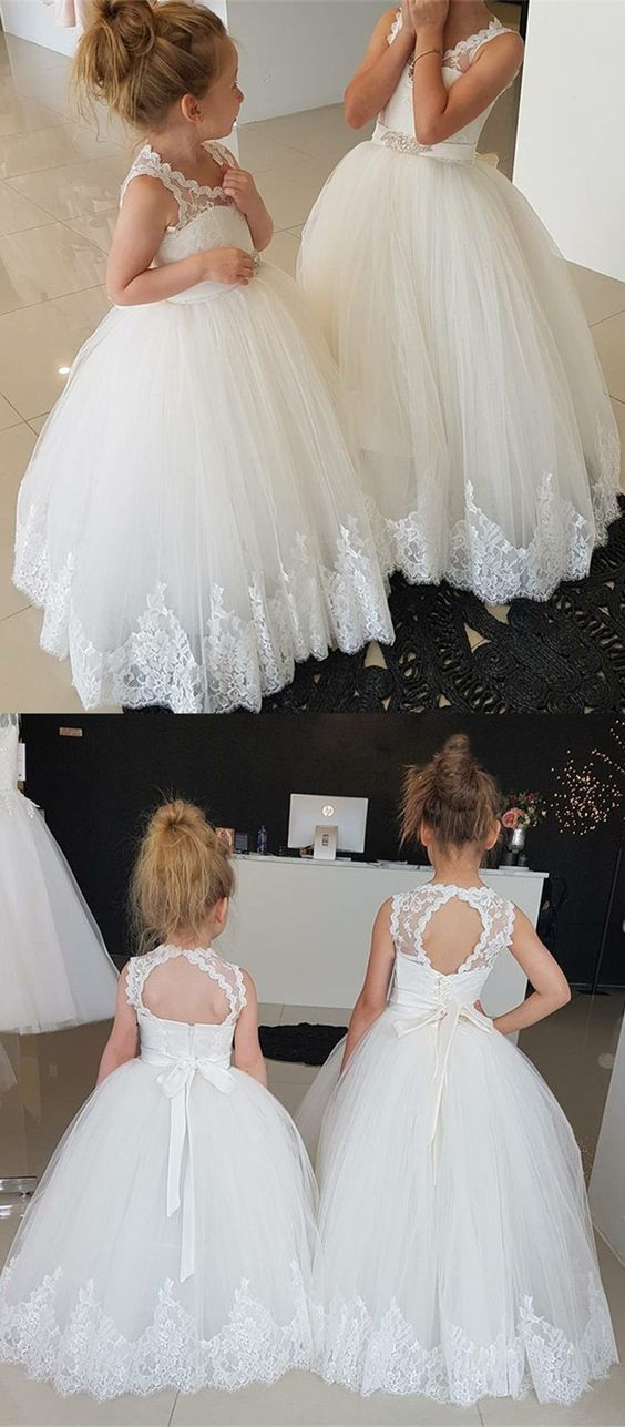 Ball Gown Round Neck Open Back Flower Girl Dress with Lace