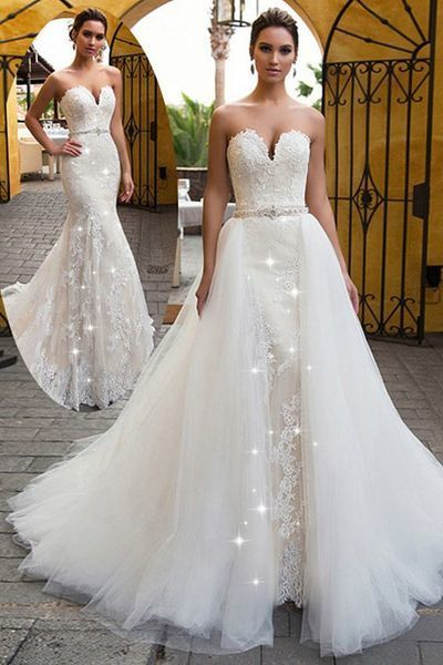 d2d980314cf Fascinating Tulle Sweetheart Neckline 2 In 1 Wedding Dress With Lace  Appliques