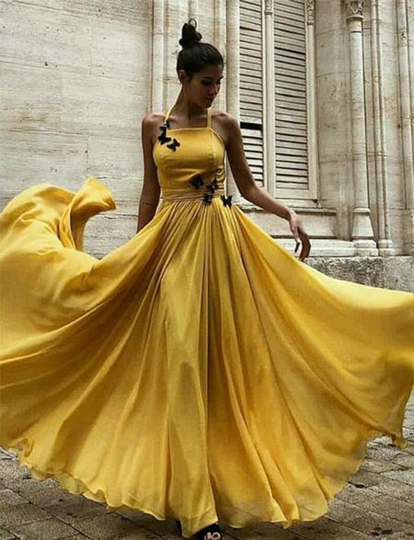 2003090800c2 Yellow Long Prom Dresses Halter Formal Evening Party Dresses Online Sale