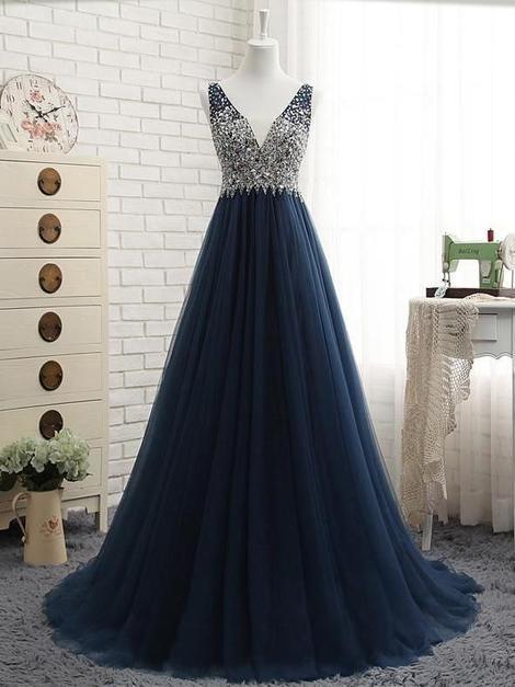 Beaded v-neck tulle long prom dress,Floor Length Party Dress