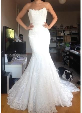 White Lace Appliques Mermaid Wedding Dress, Strapless Tulle Bridal Gowns Vestido