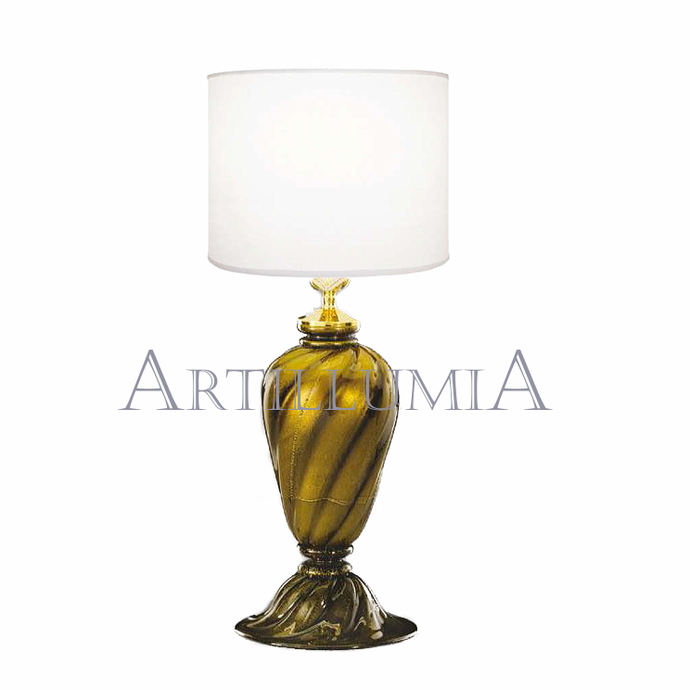 Murano glass black and 24k gold table lamp