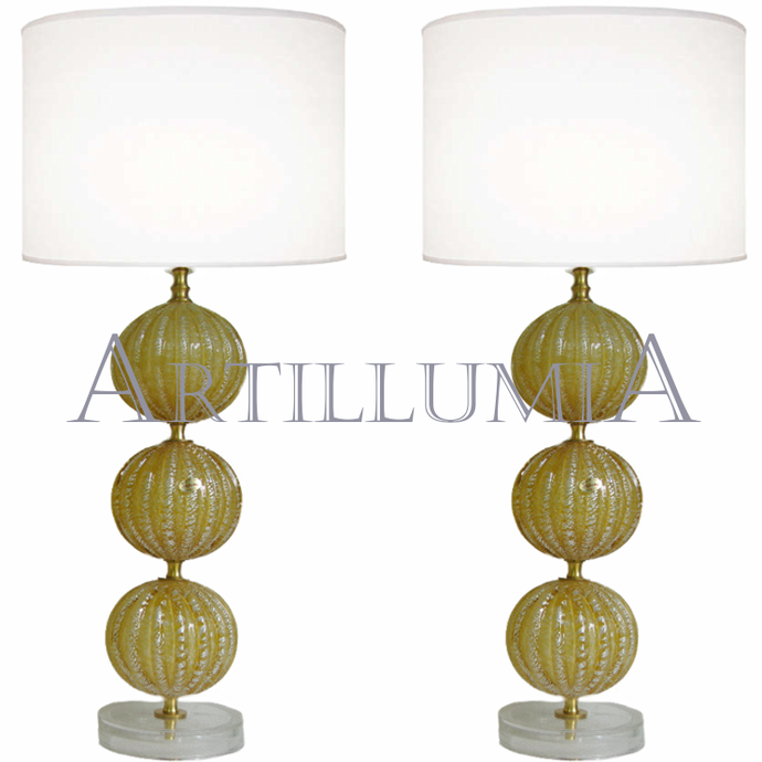 Murano glass yellow and silver leaf table lamps