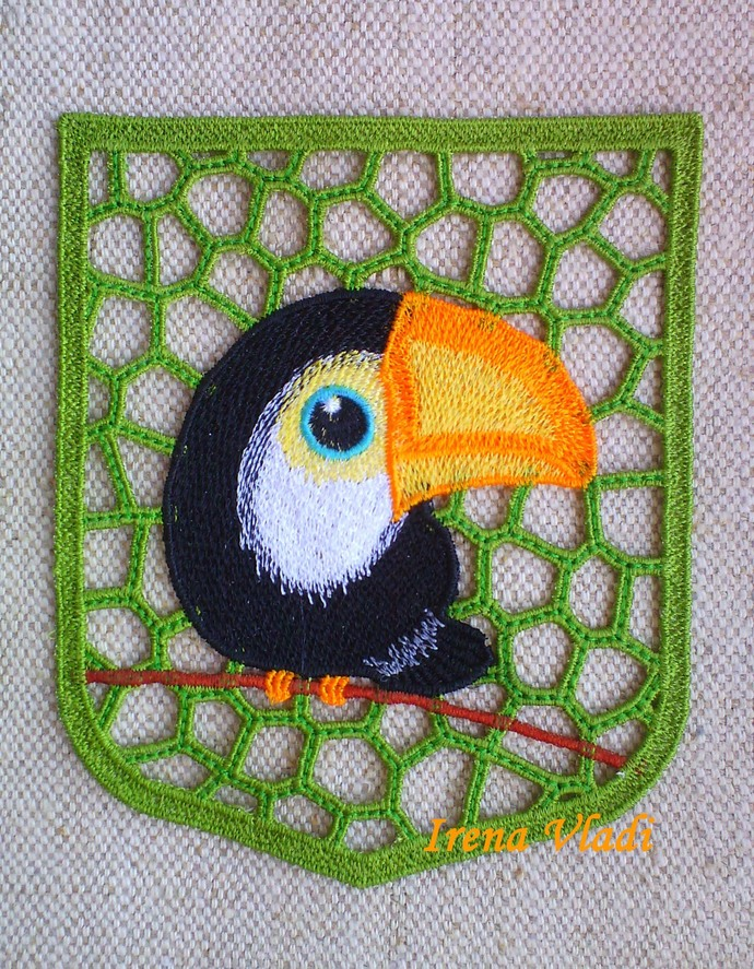 Lace Decorative Pocket with toucan Free Standing Lace Machine Embroidery design