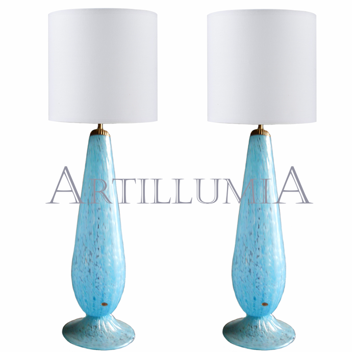 Murano glass turquoise table lamps