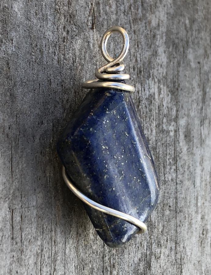Wire Wrapped Lapis Lazuli Pendant