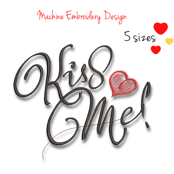 Machine embroidery designs Kiss Me Valentine's day wedding pattern heart