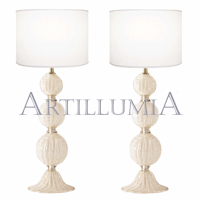 Murano glass white and 24k gold table lamps