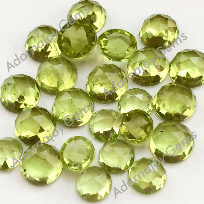 Peridot 4mm Gemstone Cabochon Rose Cut FOR TWO