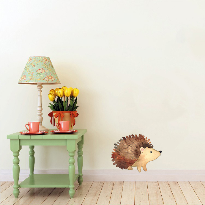 """Woodland Creatures Collection: Hedgehog Wall Decal - 5.5"""" tall x 7"""" wide"""