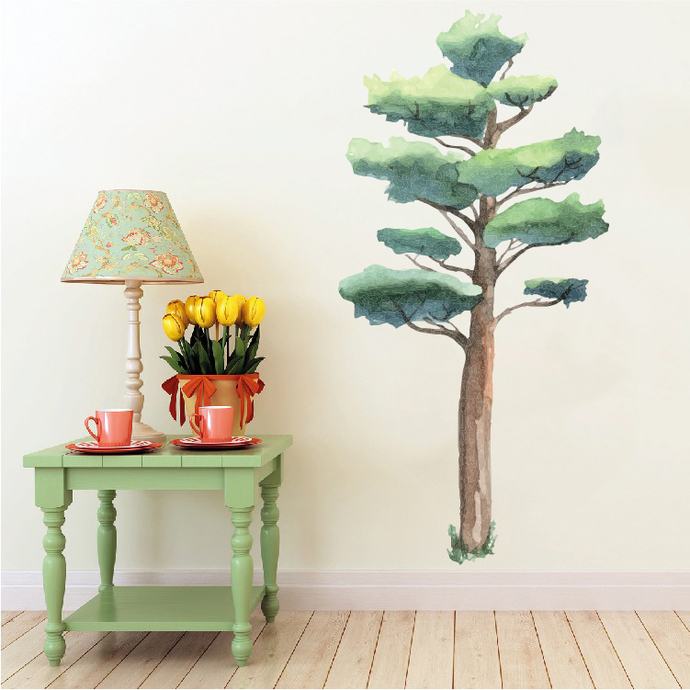 """Woodland Creatures Collection: Oak Tree Wall Decal - 55"""" tall x 27"""" wide"""
