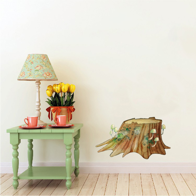 """Woodland Creatures Collection: Tree Stump Wall Decal - 12"""" tall x 21"""" wide"""