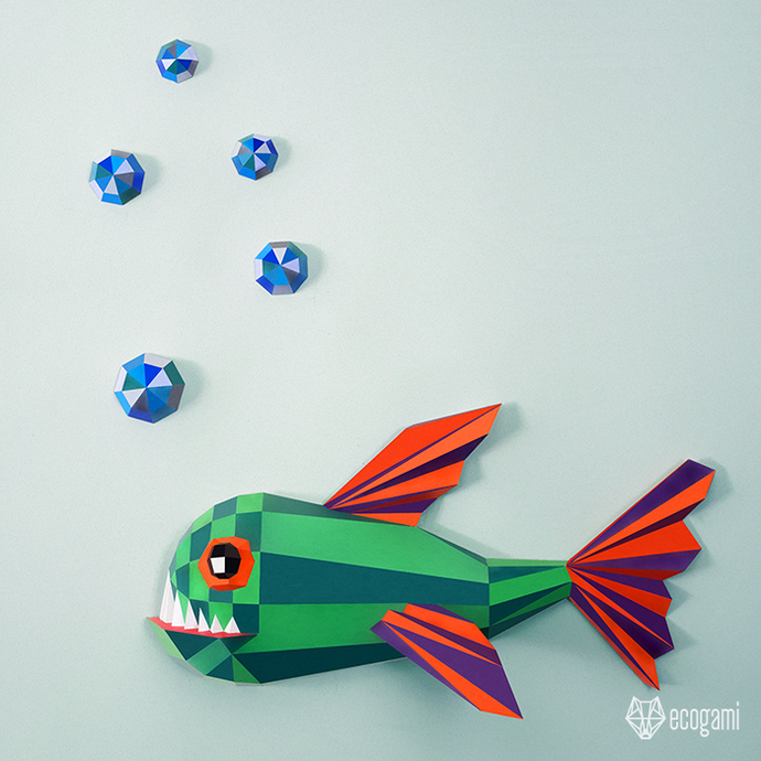Make your own piranha / funny fish papercraft trophy | 3D DIY wall mount