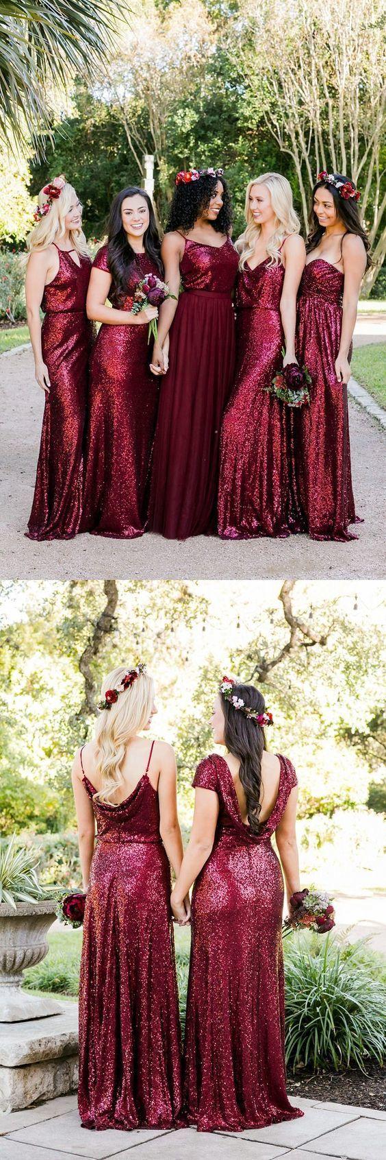 Mismatched Burgundy Bridesmaid Dresses, Sequin Bridesmaid Dresses, Long