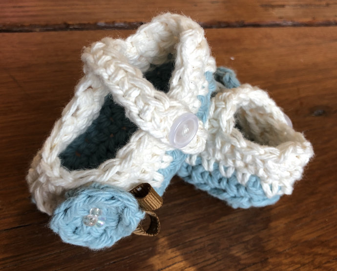 Baby Girl Booties, Baby Girl Crib Shoes, Cream, Blue, Brown Shoes, Baby Crochet
