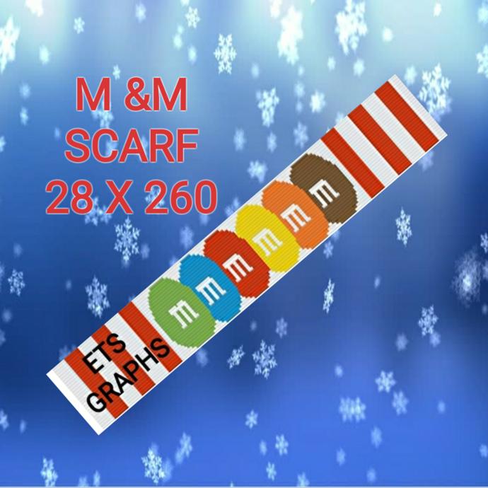 M&M Candy Cane Scarf Pattern - SC - 28x260 - SC - Graph w/Written