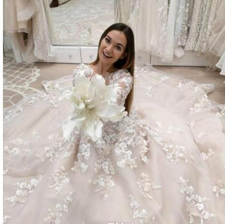 cdfd42e42 Long Sleeve Wedding Dresses Lace Applique Beads Jewel Neck Bridal Gowns  Vintage