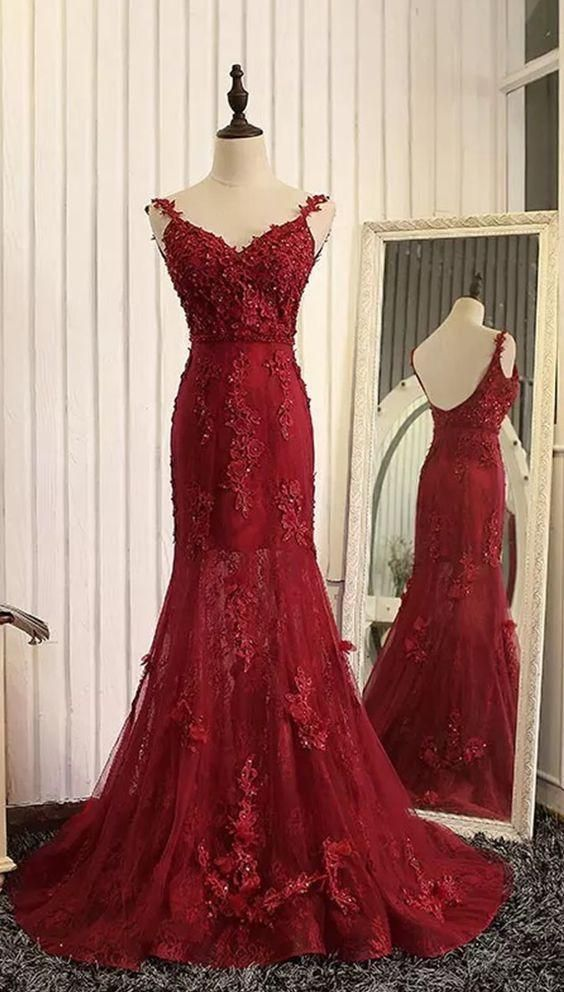 a5aa160a50b Wine Red Mermaid Charming Tulle with Lace by BeMyBridesmaid on Zibbet