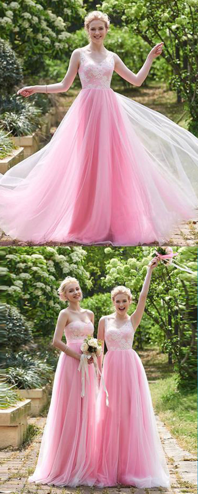 Pink tulle A-line long senior prom