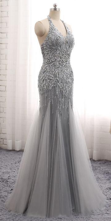 Fashion Mermaid Floor-Length Prom Dress with Full Beading,Long Formal Dress