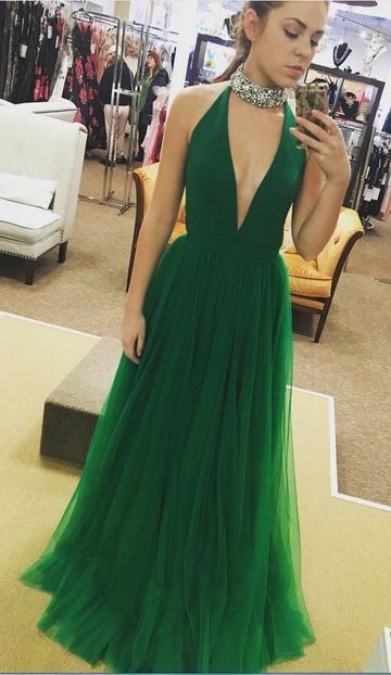 Deep V-neck Sexy Floor-Length Prom Dress,Long Formal Dress