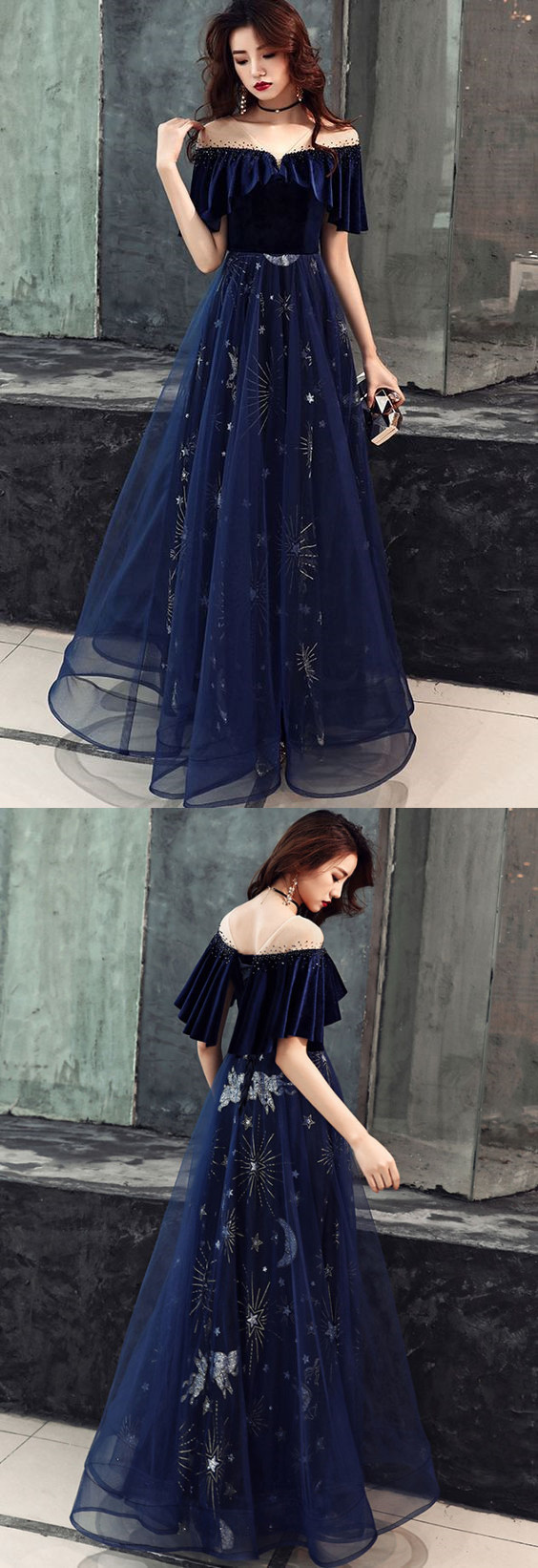 Dark blue tulle lace long prom dress, blue evening dress