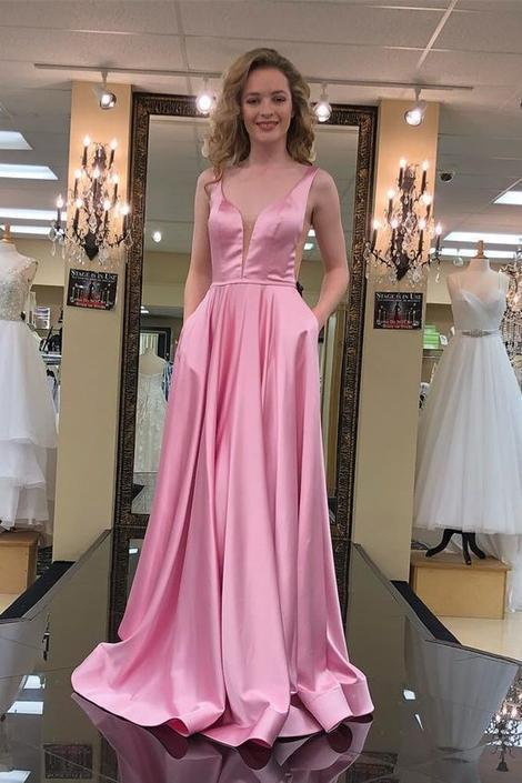 Princess V Neck Pink Long Prom Dress with Pockets, Long Prom Dress