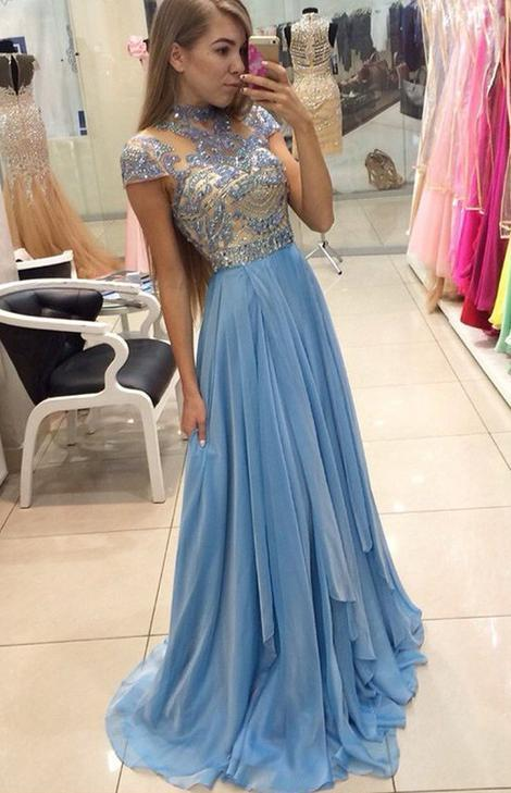 A-line Top Beaded Long Prom Dress,Formal Dresses,Wedding Party Dress