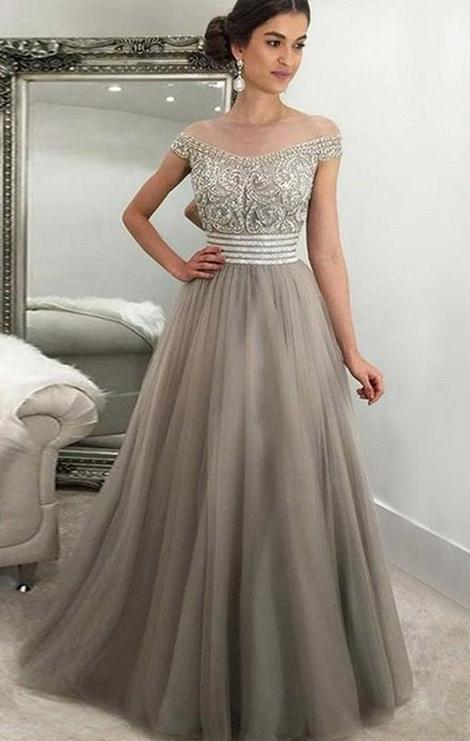 Off The Shoulder A-line Floor Length Prom Dress With Top Beaded,Formal