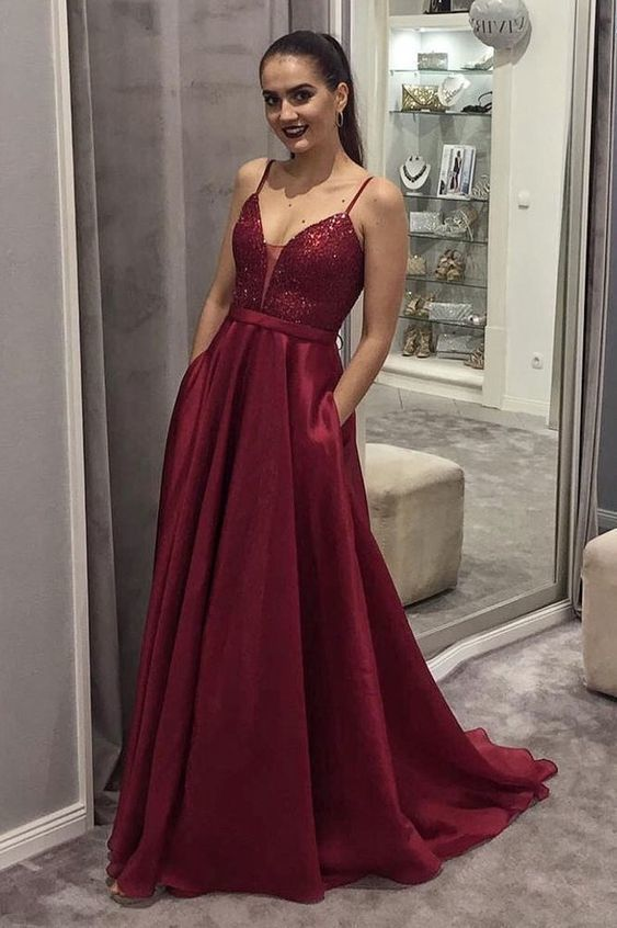 d8adf3442953 Simple v neck satin sequin long prom dress, burgundy evening dress