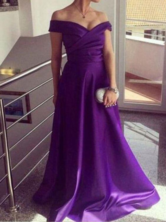 7bd51fc9537e Purple Off Shoulder Long Satin Long Formal Gowns