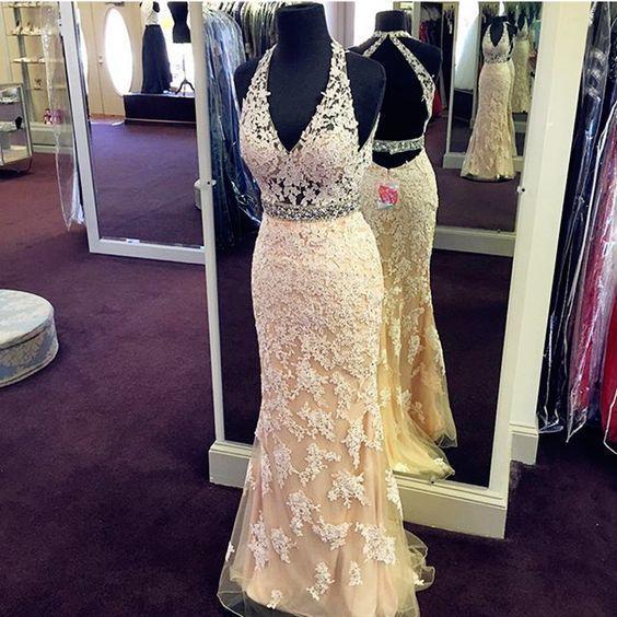 Beautiful Modest Prom Dress,halter v neck Prom Dress,lace mermaid Evening Dress,
