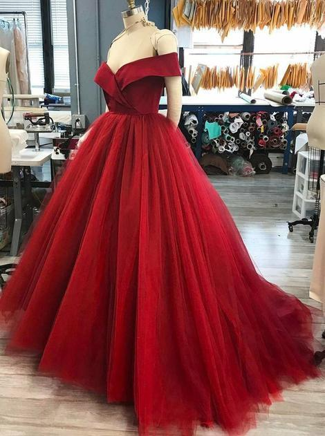 Off the Shoulder Ball Gown Long Prom Dress Semi Formal Dresses Wedding Party