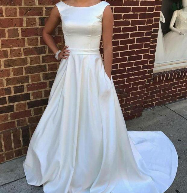 68e5f7aa1d Simple Vintage Wedding Dresses High Quality Satin With Pockets Designer  Jewel Neck Court Train Cheap Long Wedding Bridal Gowns A line