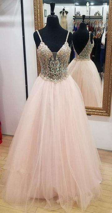 Backless Long Prom Dress With Top Beaded Semi Formal Dresses Wedding Party Dress