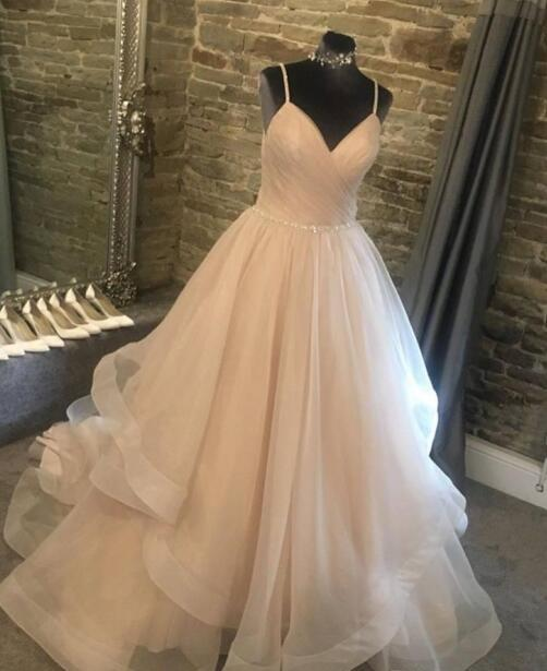 Rose Pink A Line Wedding Dresses Spaghetti Beading Ruffles Tiered Skirts Lovlely