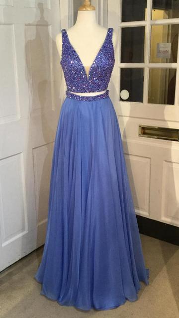 Two Piece Beading Long Prom Dress Semi Formal Dresses Wedding Party Dress