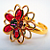 Red Flower Ring - Swarovski Crystal Golden Plated
