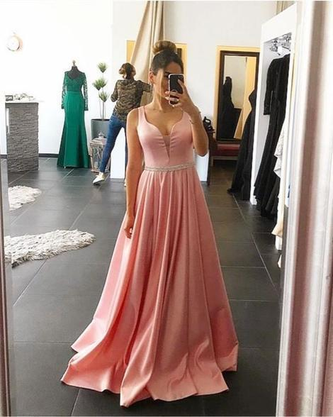 Fashion A-line Long Prom Dress Semi Formal Dresses Wedding Party Dress