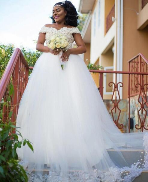 2630f9b67e02 Off Shoulder Heavy Pearls Wedding Dresses Short Sleeves Sweep Train with