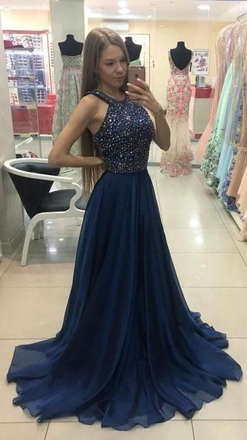 Beaded Top Long Prom Dress Semi Formal Dresses Wedding Party Dress