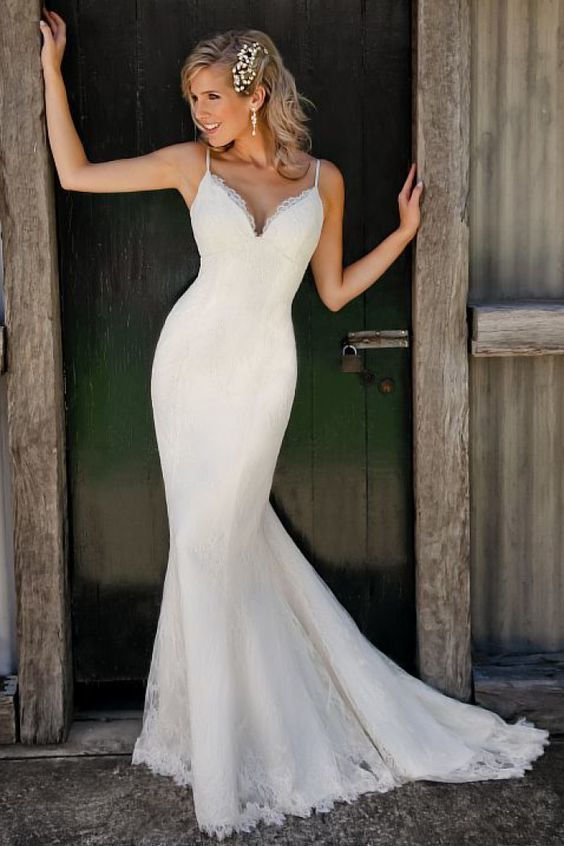 Sexy Spaghetti Straps Lace Mermaid Wedding Dress Bridal Gowns